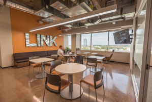Custom cafeteria in the workplace with company branding
