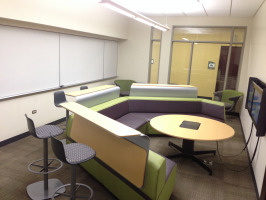 Lecture, collaboration, or video chat space in a classroom