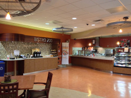 The cafe space promotes comfort and well-being in a healthcare facility