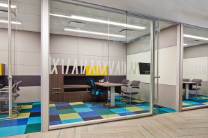 Acoustic privacy for the private office with a height adjustable desk
