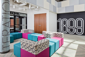 A vibrant lounge space with modular seating