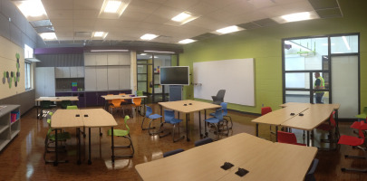 Technology integrated into the classroom with powered tables