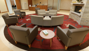 Furniture arranged in a comfortable design in a healthcare facility