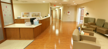 Reception desk in a healthcare facility