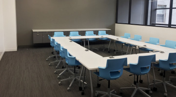 Conference table in an education setting