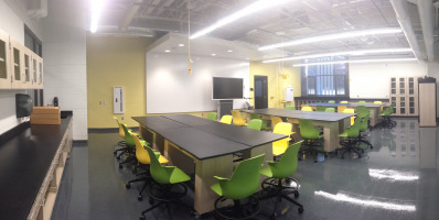Lab tables with movable chairs in the classroom