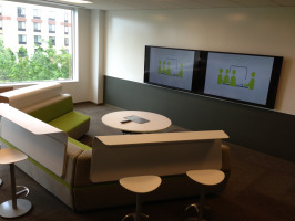 Group work facilitated with integrated technology and various seating options